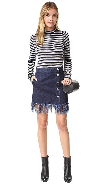 3x1 WS Asymmetrical Fringe Skirt