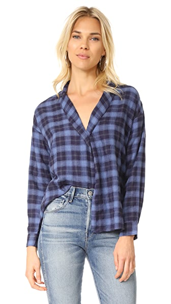 3x1 Moxy Wrap Shirt In Blue & Black Plaid