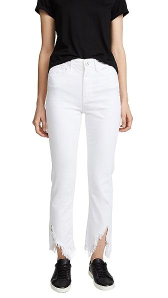 W3 High-Rise Higher-Ground Slash Slim Crop Jeans, Crane