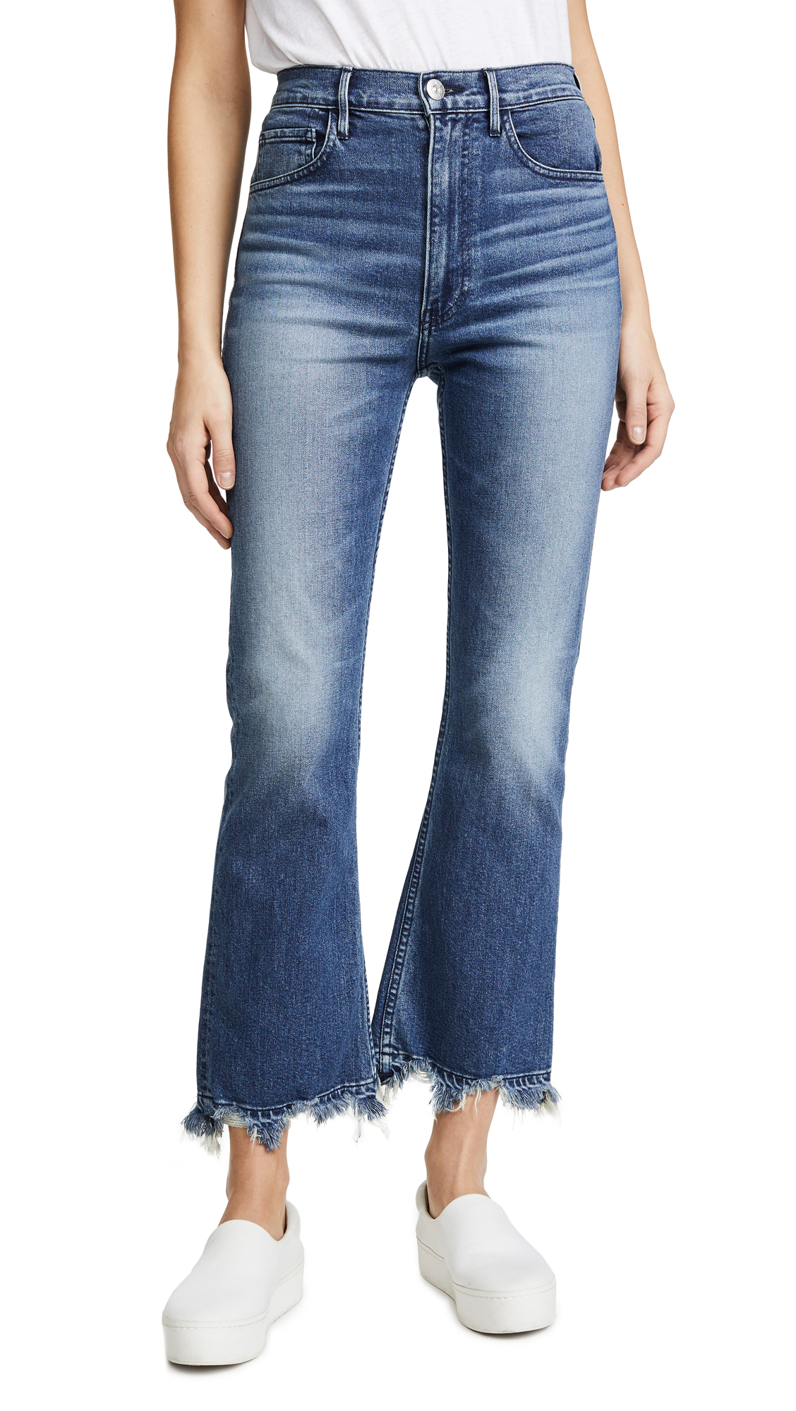 W5 Empire Crop Distressed Cropped High-Rise Bootcut Jeans, Deco Wash