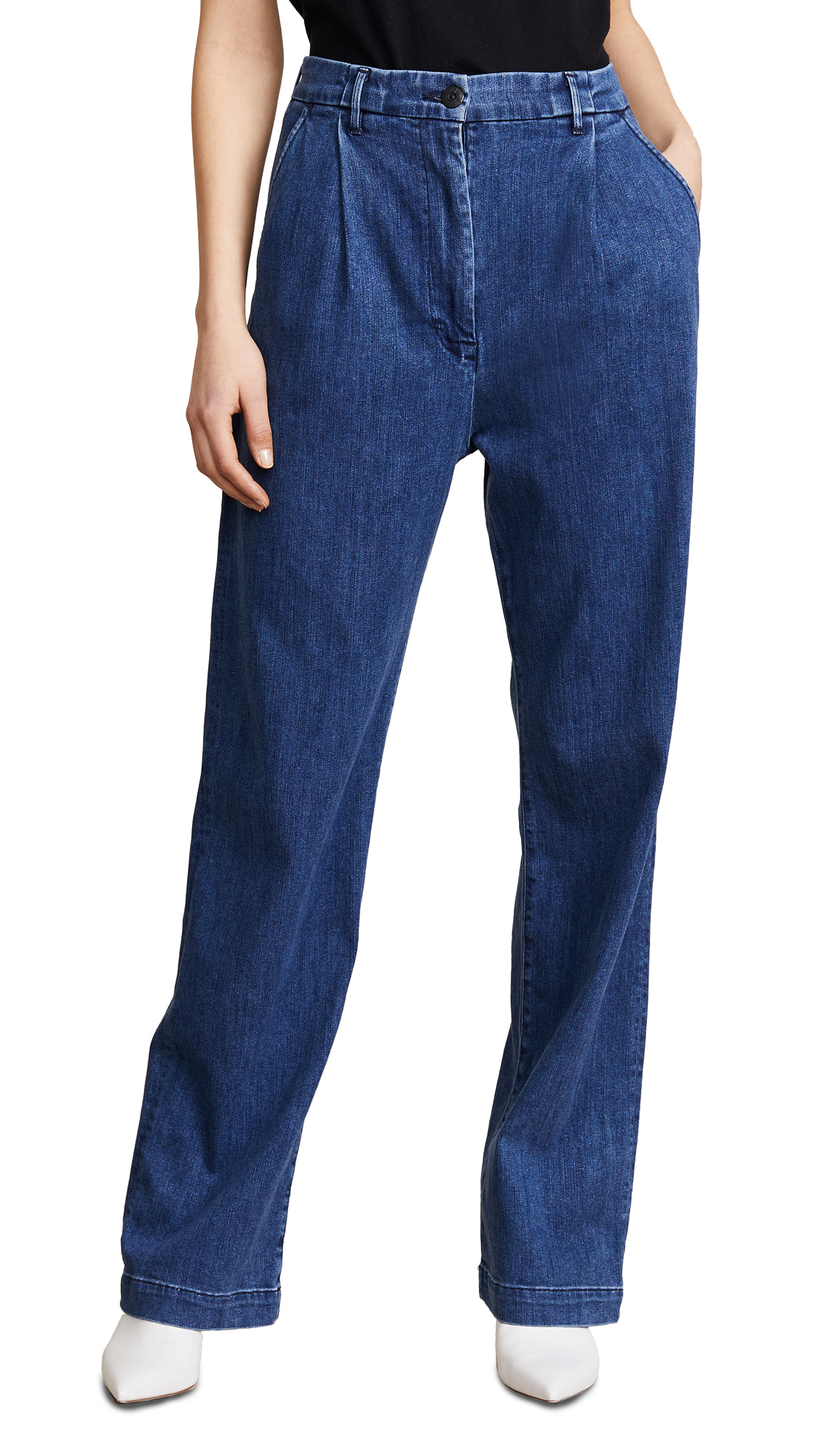 3x1 Pleated Oversized Trouser Jeans In Rays