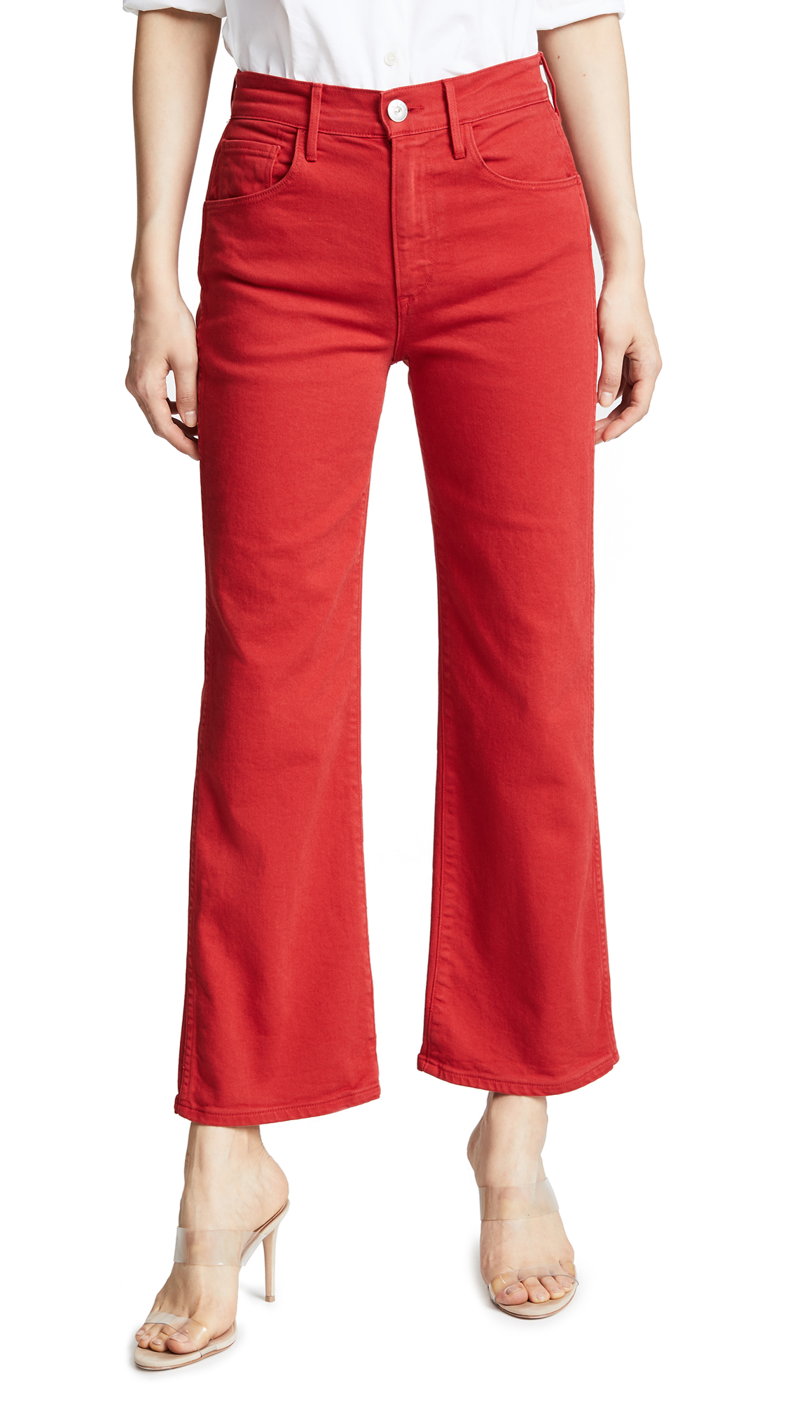 3x1 W4 Shelter Wide Leg Crop Jeans - Apple Red