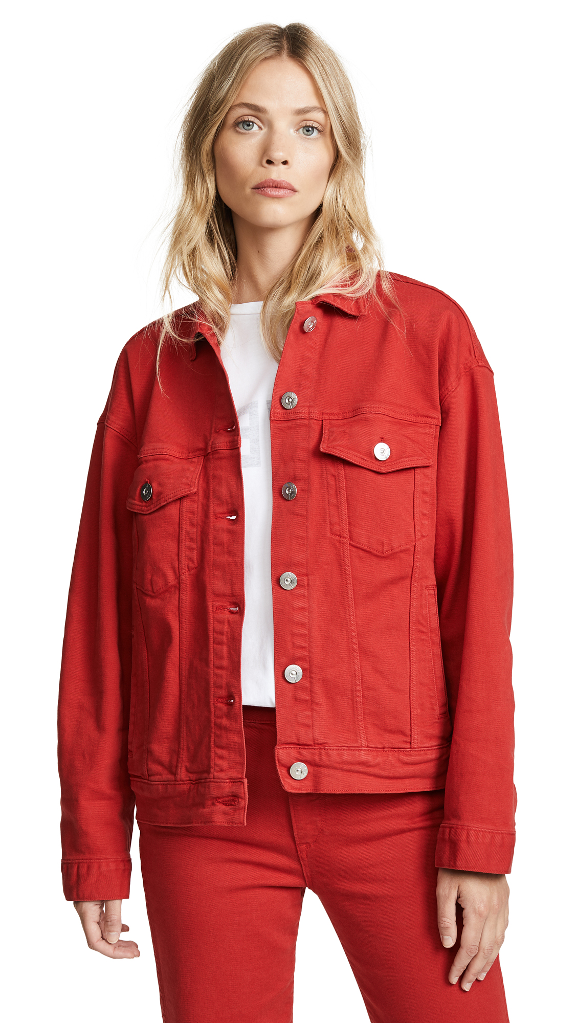 3x1 Oversized Classic Jacket In Apple Red