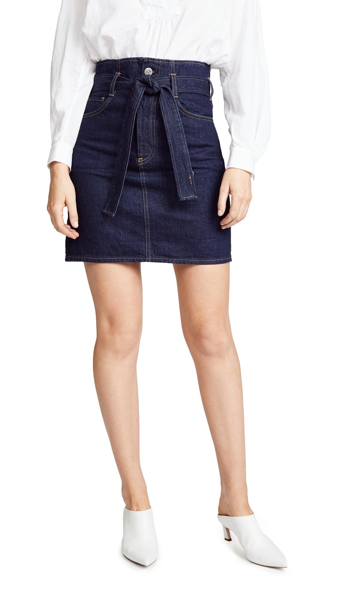 3X1 Kelly Denim Paperbag-Waist Skirt in Dark Denim