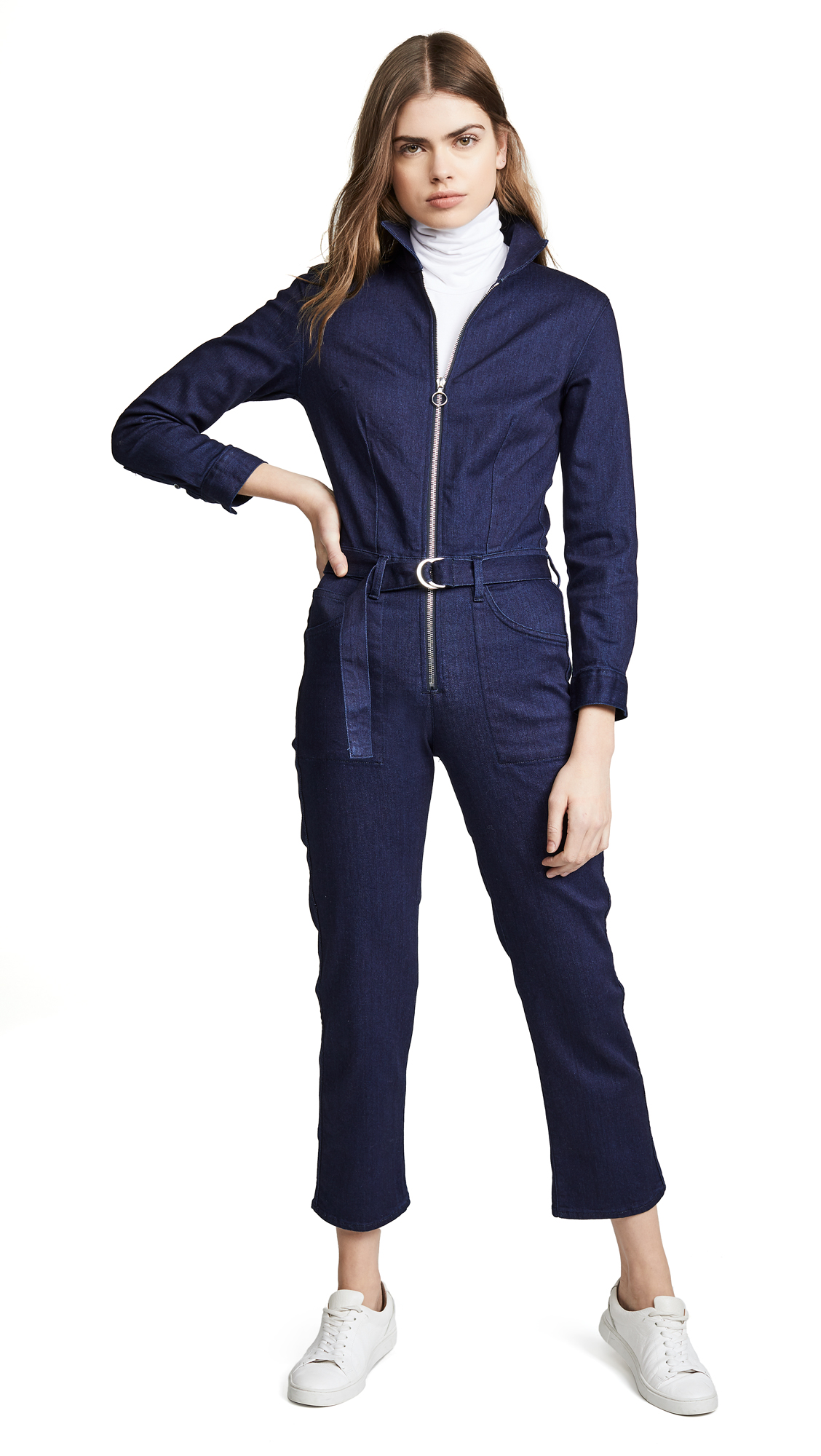 Valen Zip-Front Belted Denim Jumpsuit in Alda