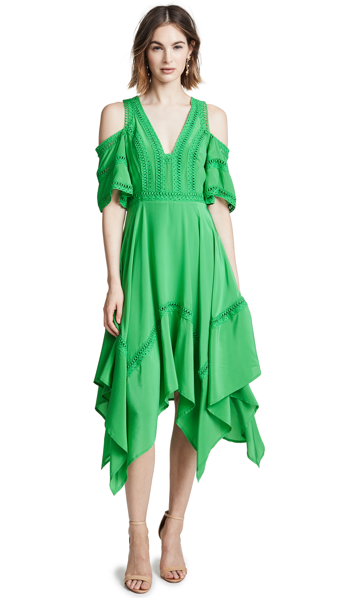 THURLEY Cold Shoulder Dress in Kelly Green