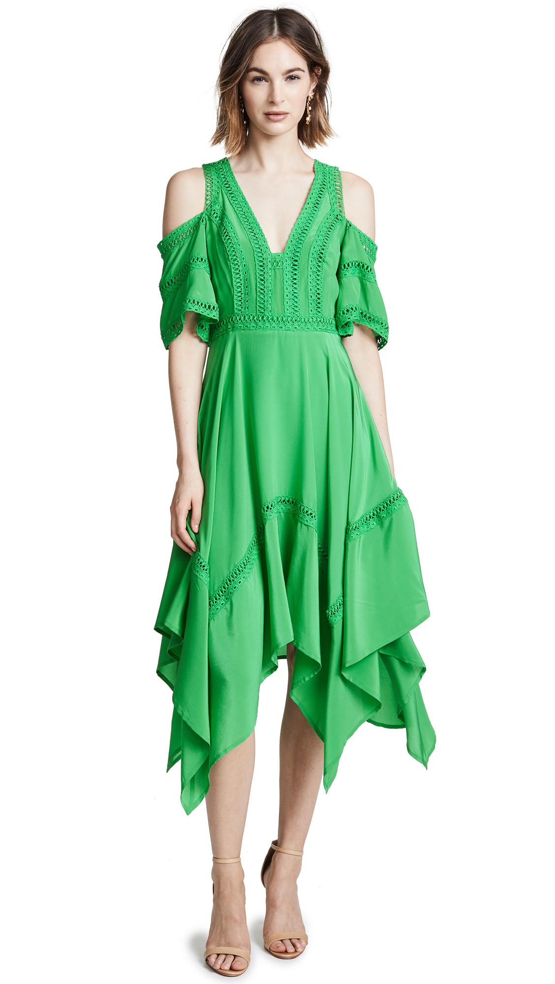 THURLEY Cold Shoulder Dress - Kelly Green