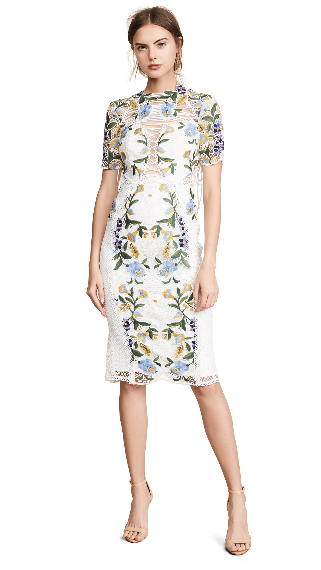 THURLEY Vasette Lace Midi Dress - Blue/Ivory