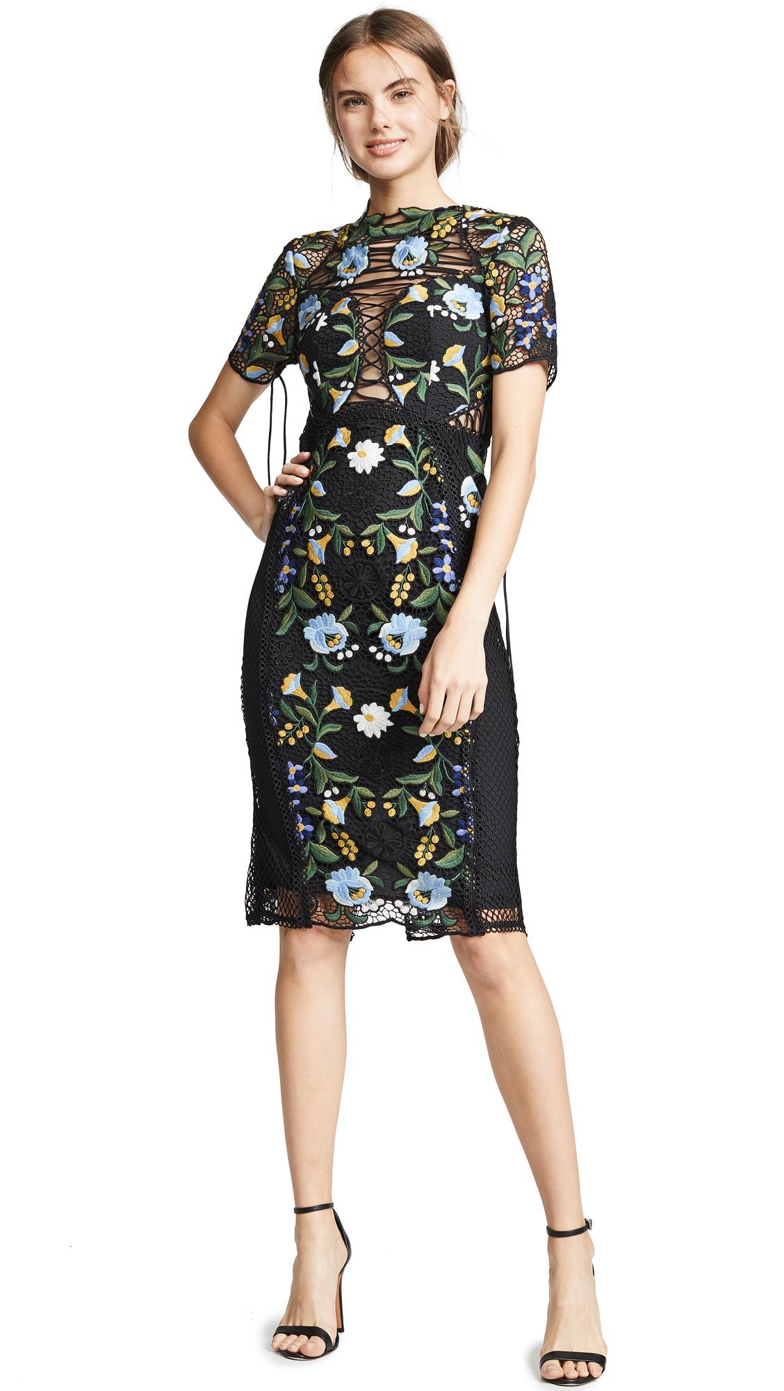 THURLEY Vasette Lace Midi Dress - Blue/Black