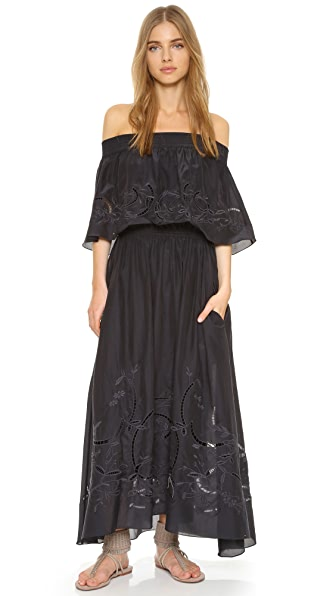 Tibi Off Shoulder Ruffle Dress