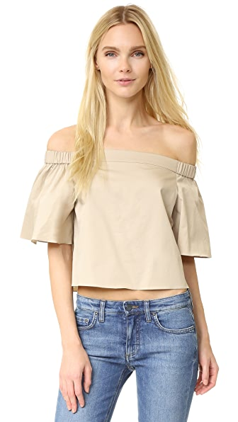 Tibi Off Shoulder Short Sleeve Blouse