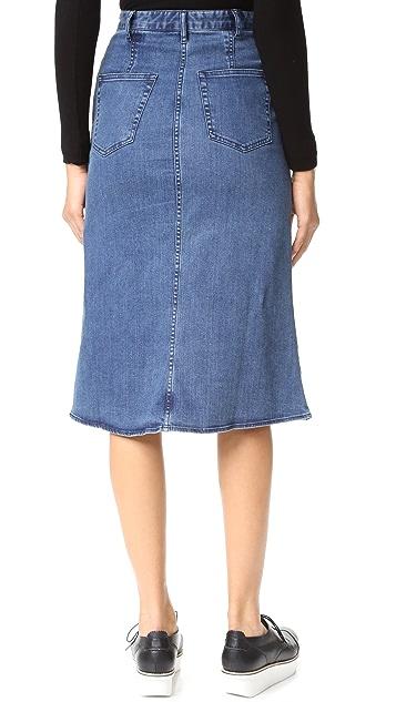 Tibi Marisol Embroidered Front Slit Denim Skirt