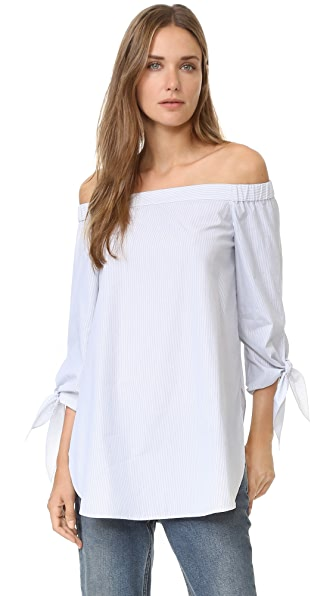 Tibi Striped Off Shoulder Blouse