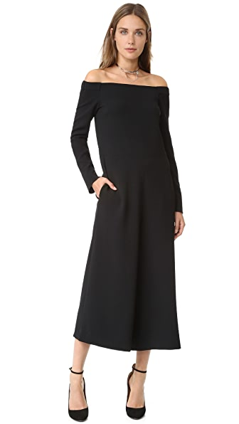 Tibi Off Shoulder Culotte Jumpsuit - Black