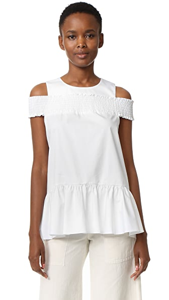 Tibi Smocked Cold Shoulder Top