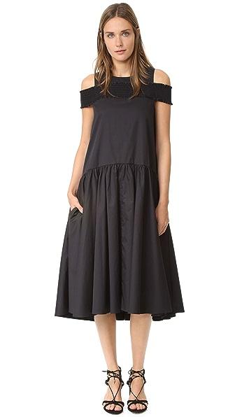 Tibi Платье с открытыми плечами и присборенной резинкой
