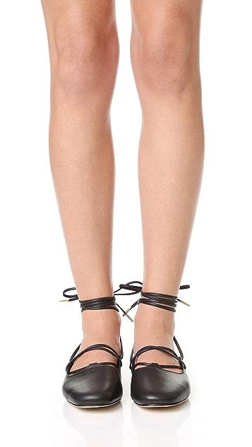 Tibi Lila Ankle Wrap Flats