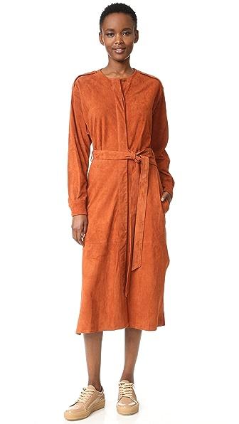 Tibi Замшевое платье с планкой