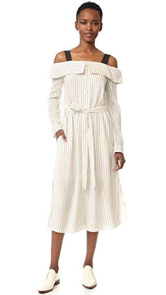 Tibi Off Shoulder Shirtdress - Ivory/Black Multi