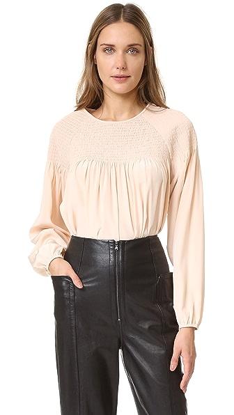 Tibi Шелковая блуза со сборками