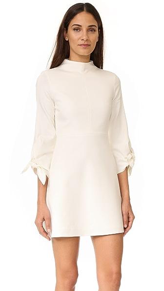 Tibi Эластичное платье Bond с завязками на рукавах и воротником под горло