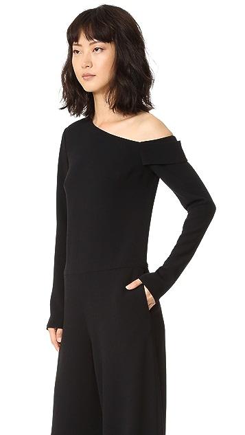 Tibi Asymmetrical Off Shoulder Jumpsuit
