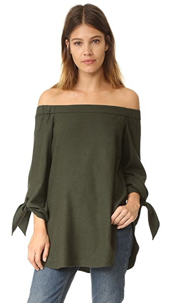 Tibi Off Shoulder Tunic - Loden Green