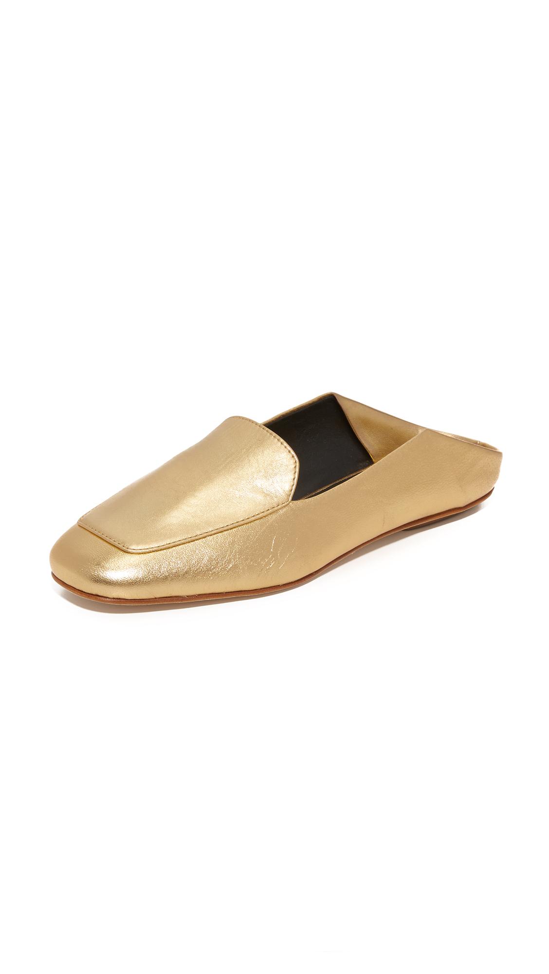 tibi female tibi cecil mules metallic gold