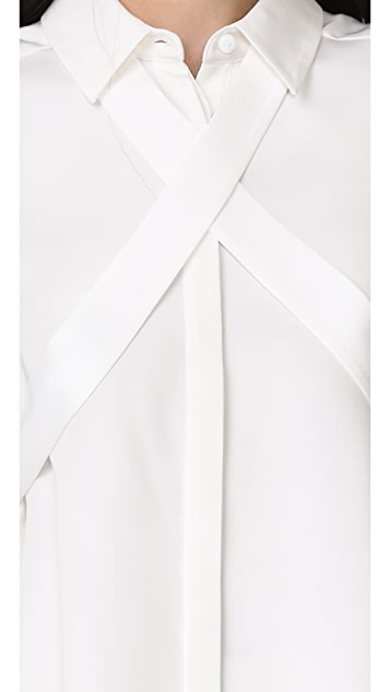 Tibi Silk Tie Blouse