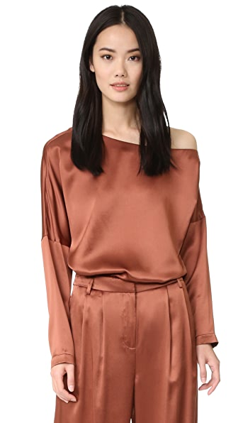 Tibi Asymmetrical Off Shoulder Top