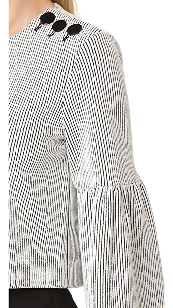 Tibi Bell Sleeve Ribbed Knit Top