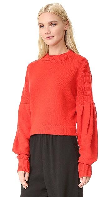 Tibi Pleated Sleeve Cashmere Sweater