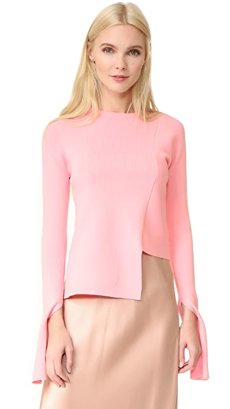 Tibi Asymmetrical Crew Neck Sweater