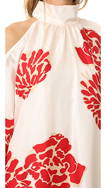 Tibi Asymmetrical Cutout Orla Bloom Dress
