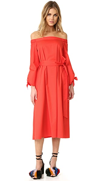 Tibi Midi Off Shoulder Poplin Dress - Ribbon Red