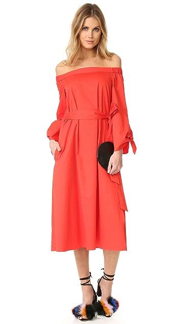 Tibi Midi Off Shoulder Poplin Dress
