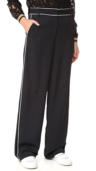 Tibi Wid Leg Pants with Patch Pockets