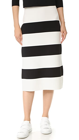 Tibi Apres Ski Knit Skirt - Black/Ivory Multi