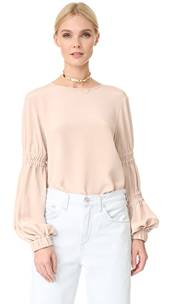 Tibi Balloon Sleeve Top with Double Tie Detail
