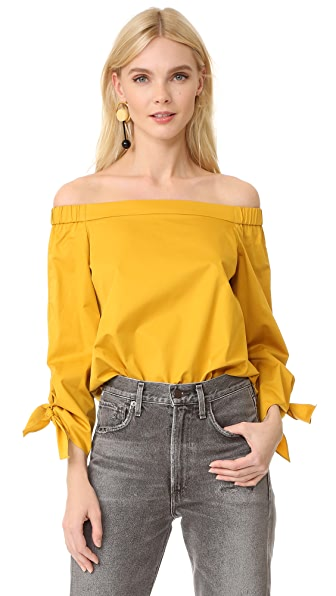 Tibi Off Shoulder Tunic - Sinapis Yellow
