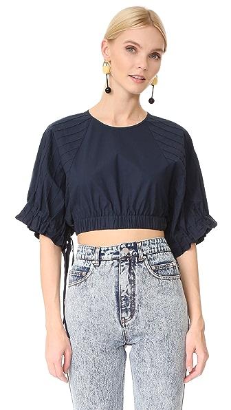 Tibi Poplin Short Sleeve Top