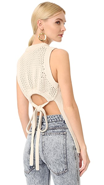 Tibi Tube Yarn Open Back Vest