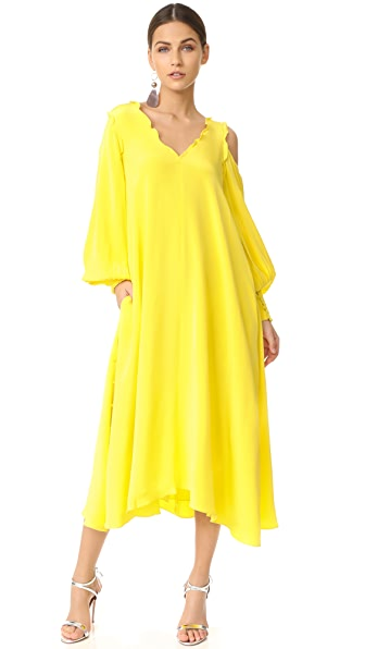 Tibi Edwardian Open Shoulder Dress