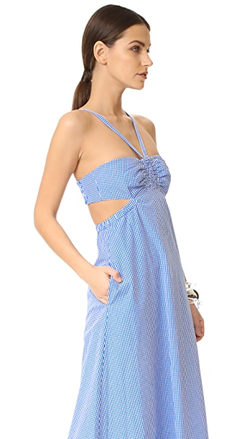 Tibi Gingham Ruched Halter Dress