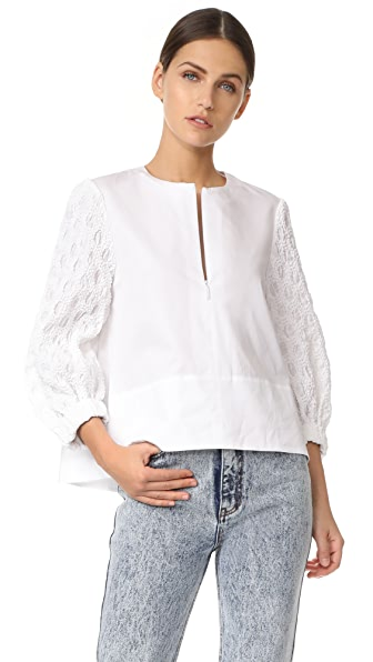 Tibi Smocked Sleeve Trapeze Top - White