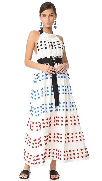 Tibi Pom Pom Embroidery Dress