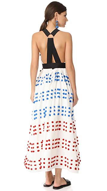 Tibi Pom Pom Embroidery Dress
