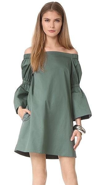 Фото Tibi Платье из ткани в рубчик с рукавами «фонарик». Купить с доставкой