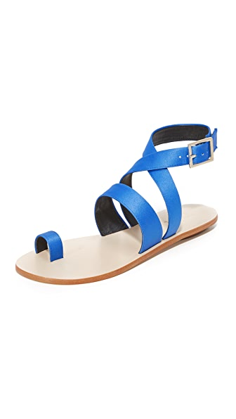 Tibi Hallie Satin Sandals - Azure