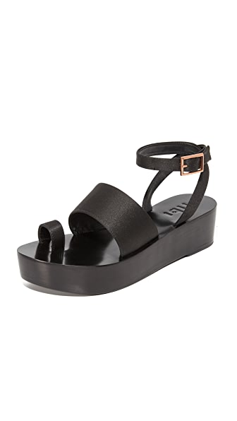 Tibi Janie Satin Flatforms - Black